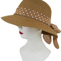 VISOR-STYLE SUN HAT WITH POLKA-DOT BOW