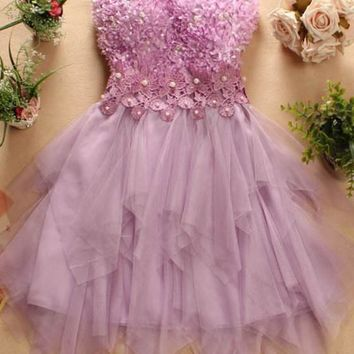 Streetstyle  Casual Purple Patchwork Irregular Grenadine Bandeau Beading Homecoming Mini Dress