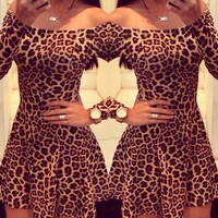 hot leopard sexy long sleeve dress