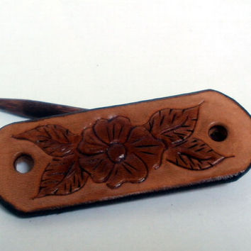 Tooled leather hair barrette, size XS, hair stick, hair pin, hair slide, embossed floral design, wild rose