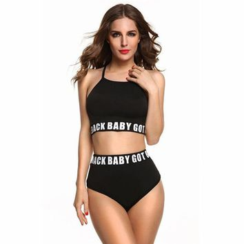 Bikini Set beach body High Waist Bikini Croppe Bikinis 2018 Letter  Women Sport Suit Swimsuit Teens Junior Swimming Beachwear Bathing Suit