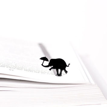Bookmark Dancing elephant laser cut metal powder coated black Stylish unique gift for book lover Free shipping.