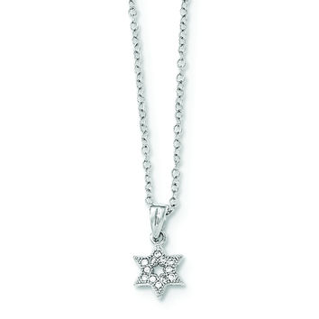 Sterling Silver Rhodium-plated CZ Star of David Necklace QG3677