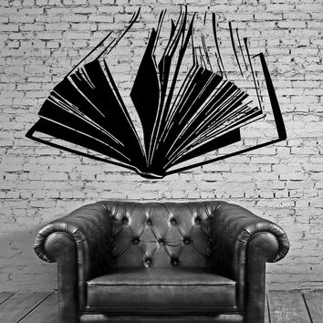 Open Book Literature Read Fiction Wall Decor Mural Vinyl Decal Art Sticker Unique Gift M559
