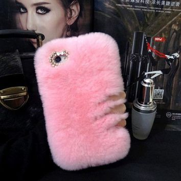 Cute Rabbit Fur Fluffy Warm Mobile Phone Protective Case Suitable for iPhone 6/6S