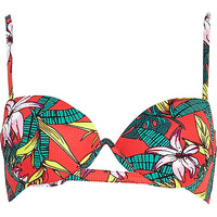 River Island Womens Red tropical print bustier bikini top