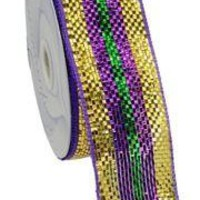 2 1/2in x 75ft Premium Mardi Gras Stripes Mesh Ribbon/ Netting