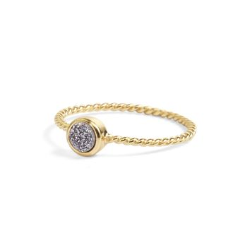 Teeny Silver Druzy Stacking Ring