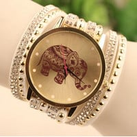 Elephant Quartz Multilayer Leather Rivets Bracelet Watch Women Rhinestone Casual Relogio Feminino Watches