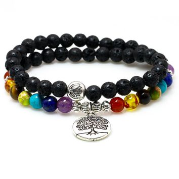 6MM Natural Black Lava Stone Beads Lotus Charm Pendant Yoga Bracelet Onyx Bead Bracelets For Men Women Buddha Meditation Jewelry