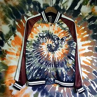 Indie Designs Valentino Inspired Tie&Dye Print Embroidered Butterflies Souvenir Jacket