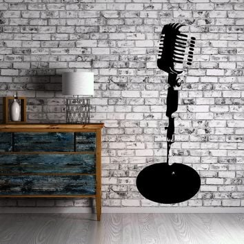 Microphone Stand Music Stage Jazz Wall Decor Mural Vinyl Decal Art Sticker Unique Gift M556