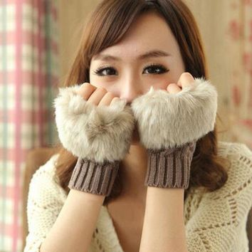 Super Warm ! Thick Ladies Soft Cotton Winter Gloves Fur Trim Knitted for Women 10 Colors