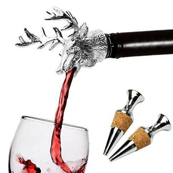 FREEMASTER Wine Pourer and Stopper Wine Aerators Stainless Deer Stag Head Wine Pourer Stags Head Bottle Stopper Silver white