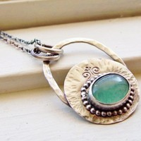 Adventurine Sterling Silver Pendant Stamped Textured Pendant