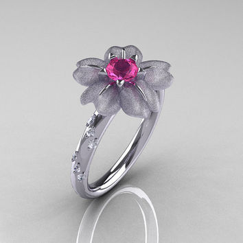 14K White Gold Pink Sapphire Diamond Flower by NaturesNouveau