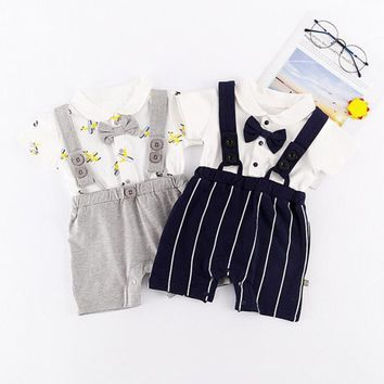 MUQGEW 2Pcs Infant Baby Boys Bowknot Plane T-Shirt Tops with stripe Suspenders Pants Set Outfits Clothing #XTN