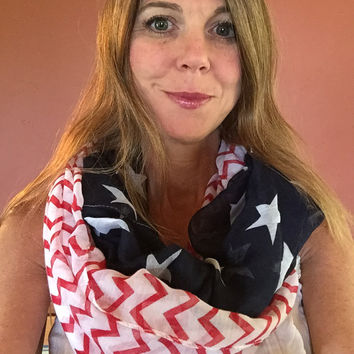 Chevron American Flag Infinity Scarf leather cuff Patriotic July 4th Scarf Red White Blue Infinity Flag Scarf Infinity Scarves lightweight