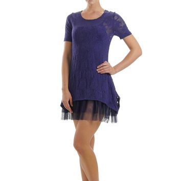 Lace Short Sleeve Dress with Mesh Slip