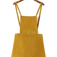 Yellow Corduroy A-line Overall Dress