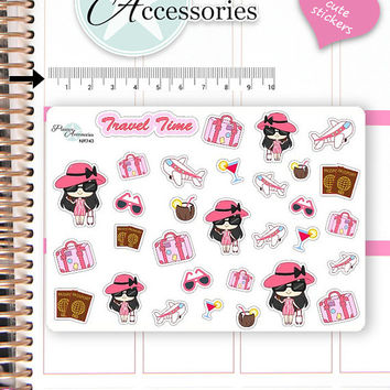 Travel Stickers Girl Stickers Travel Girl Stickers Cute Planner Stickers Erin Condren Functional Stickers Decorative Stickers NR743