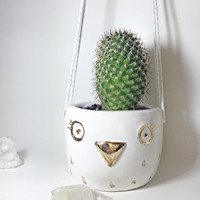 Hanging Owl Planter White and Gold Pot Porcelain Pottery Ceramic Cutest Container Perfect Gift READY TO SHIP In Stock