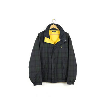 90s NAUTICA reversible jacket / parka with hood / green plaid & yellow / windbreaker / mens L - XL