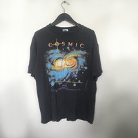 Cosmic Voyage tshirt vintage t shirt 90s vintage clothing grunge distressed tshirt galaxy tee outter space movie t-shirt black large