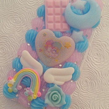 Little Twin Stars iphone 6/6s pastel rainbow phone case Kiki Lala  kawaii angel sweets