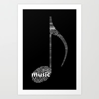 Invert music note Art Print by Hedehede