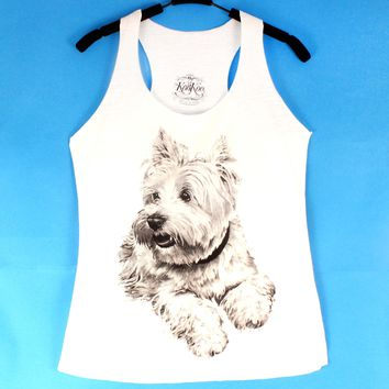 White Terrier Westie Puppy Dog Animal Graphic Print Racerback Tank Top