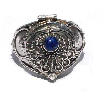 Sterling Silver Bali HandMade Poison Ring with Genuine Lapis