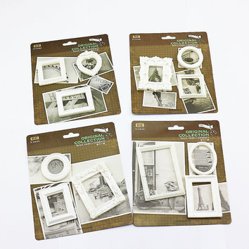 Mini Fake Plaster Photo Frame with Relief Sculpture Made of Resin Decorative Cameo small scrapbook accessories 6cards/lot