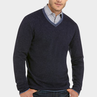Pronto Blue V-Neck Modern Fit Sweater, Navy and Blue - Classic Fit (Regular) | Men's Wearhouse