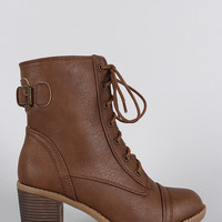 Wild Diva Back Buckle Combat Ankle Boots