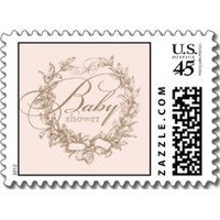 French Baby Shower Postage Stamp - Pink
