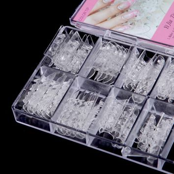 Fake Nails 60Pcs/set Dual Form Nail System for UV GEL Glass Nail Art Mold Tips Decoration Acrylic False Nails -35