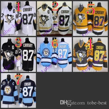 Stitched  Pittsburgh Penguins #87 Sidney Crosby Black/White/Light/Black yellow Blue Hockey Jerseys Ice Jersey do Drop Shipping,Mix Order