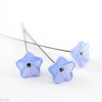 Flower beads, Periwinkle blue, Czech glass trumpet, 12mm (20pc) Minimalism