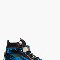Giuseppe Zanotti Blue Brushed Leather Zippered High-top Sneakers for men | SSENSE