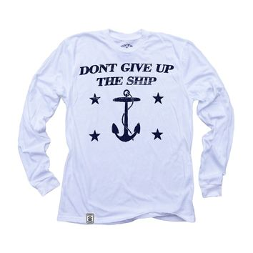 Dont Give Up The Ship: Organic Fine Jersey Long Sleeve T-Shirt in White