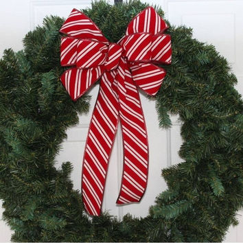 Candy Cane Stripe Indoor Outdoor Weatherproof Bow