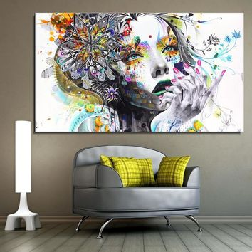 girl FLOWER Butterfly colour Cartoon Figure Painting Abstract drawing Spray Oil Painting Canvas Home decor Frameless art