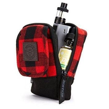ONETOW Wick and Wire - Stash Vape Case for Medium Size Mechanical and Box Mods - Premium Travel Vape Bag - EJuice Holder (Red Plaid)