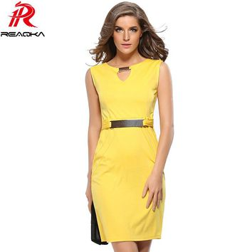 Reaqka Women Summer Dress 2017 New Fashion Hollow Out Sleeveless Pencil Plus Size Dress Knee Length Women Casual Dresses
