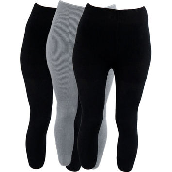 Evelots Soft Warm Leg Warmers Knitted Leggings, Black & Grey, 3 Pack