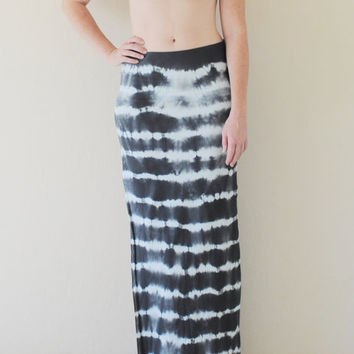 Tie Dyed Boho Chic Maxi Skirt in Stretch Knit Cotton - Bohemian Extra Long Maxi Skirt - Wear 2 Ways - Sizes XS, S, M, L, XL