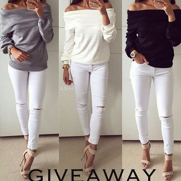 Plain Off-Shoulder Long-Sleeve Shirt