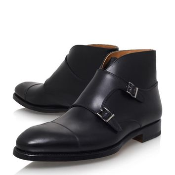 Men Black Double Monk Chukka Genuine Leather Boots