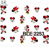 Nail Sticker 1 Sheet Red Cartoon Nail Art Water Transfer Sticker Decal Sticker For Nail Wraps BEBLE2253